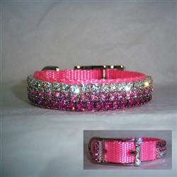 Gradient Pink Jeweled Pet Collar