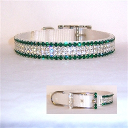 Diamonds and Emeralds Crystal Bling Dog Collar