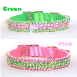 Juicy Watermelon Dog Collar in Pastel Pink or Lime Green with crystal