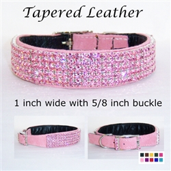 Tapered Leather Dog Collar Jeweled