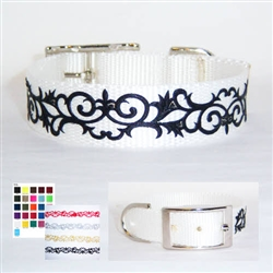 Scroll Design 1 Inch Wide Dog Collar