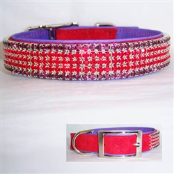 Red Hat Leather Dog Collar
