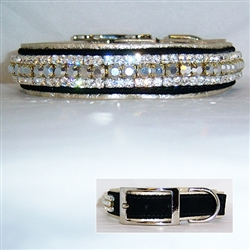 Designer Ritz Couture Crystal Leather Dog Collar