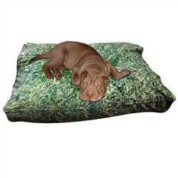 Grass Print Dog Bed