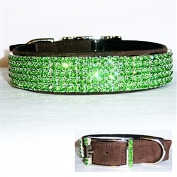 brown green leather collar