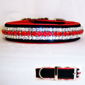 Flaming Leather Dog Collar