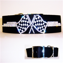 Racing Flag Dog Collar with Bling
