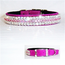 Fuchsia Flash leather jeweled dog collar