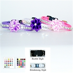 Crystal and flower pet collars.