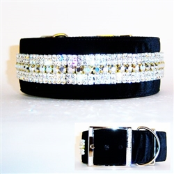Gorgeous, sparkly 2 inch wide large crystal dog collar.