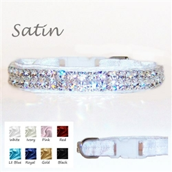 Satin dog collar with crystals in your choice of collar and crystal colors.